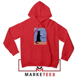 Black Cat Coffee Red Hoodie