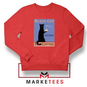 Black Cat Coffee Red Sweatshirt
