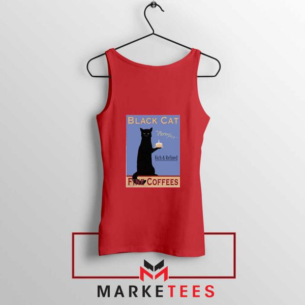 Black Cat Coffee Red Tank Top