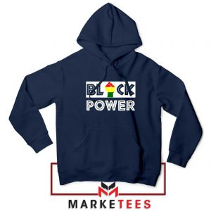 Black Power Rainbow Fist Navy Blue Hoodie