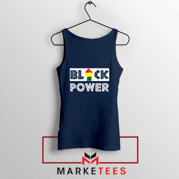 Black Power Rainbow Fist Navy Blue Tank Top
