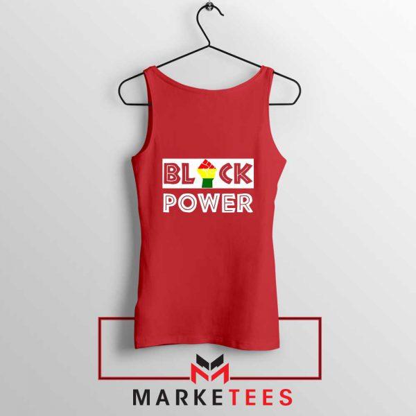 Black Power Rainbow Fist Red Tank Top