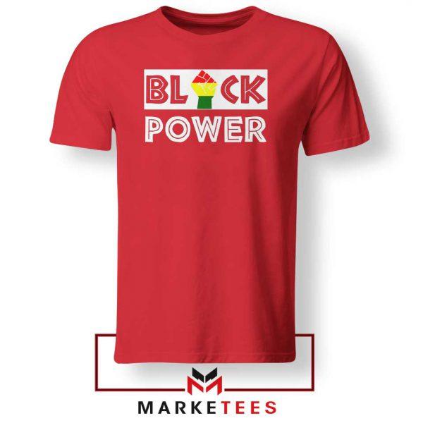 Black Power Rainbow Fist Red Tshirt