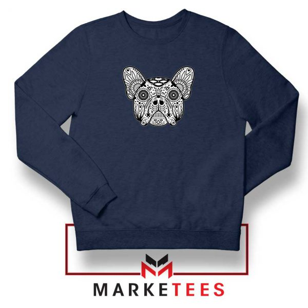 Bulldog Sugar Skull Navy Blue Sweatshirt