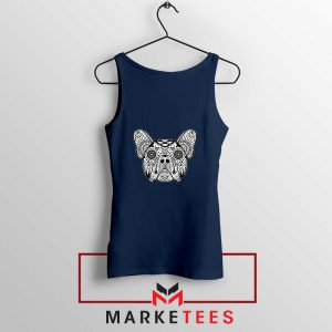 Bulldog Sugar Skull Navy Blue Tank Top