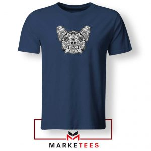 Bulldog Sugar Skull Navy Blue Tshirt