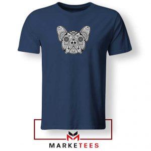 Bulldog Sugar Skull Navy Blue Tshirt