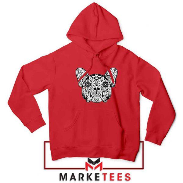 Bulldog Sugar Skull Red Hoodie