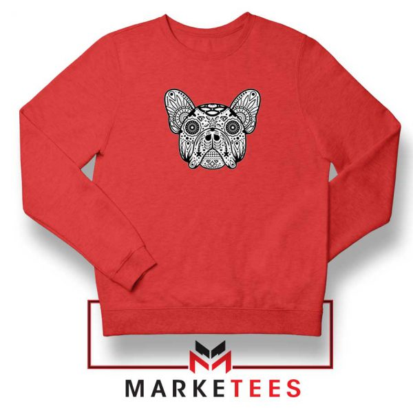 Bulldog Sugar Skull Red Sweatshirt