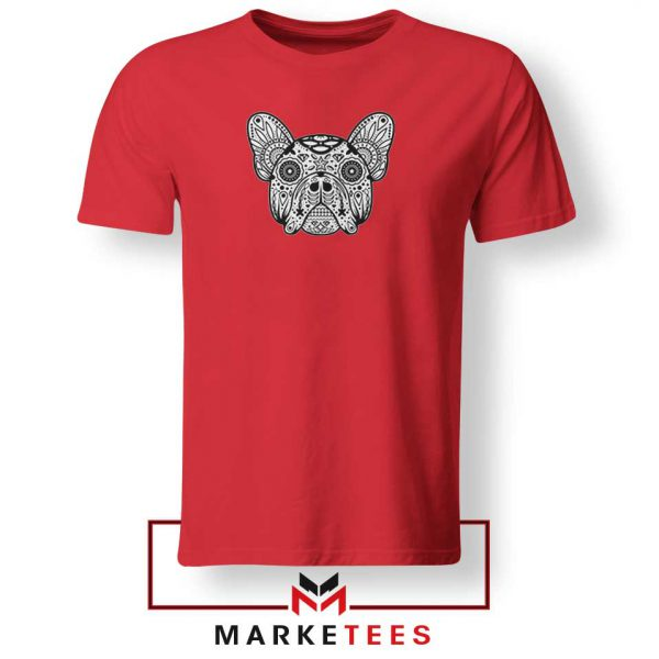 Bulldog Sugar Skull Red Tshirt
