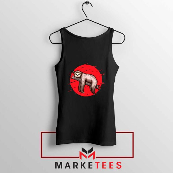 Lazy Sloth Black Tank Top