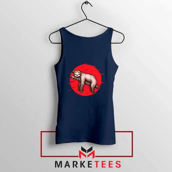Lazy Sloth Navy Blue Tank Top