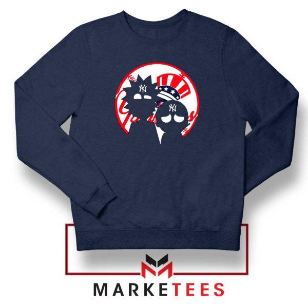 Rick and Morty New York Yankees Navy Blue Sweatshirt
