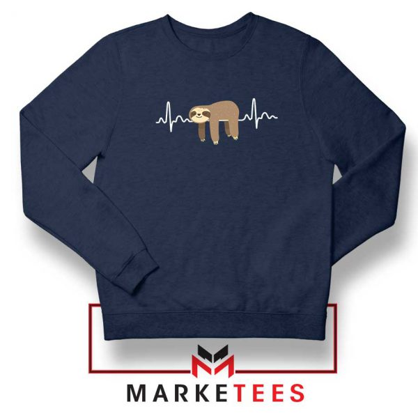 Sloth Lazy Heartbeat Navy Blue Sweatshirt