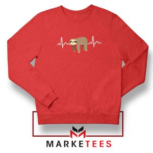 Sloth Lazy Heartbeat Red Sweatshirt