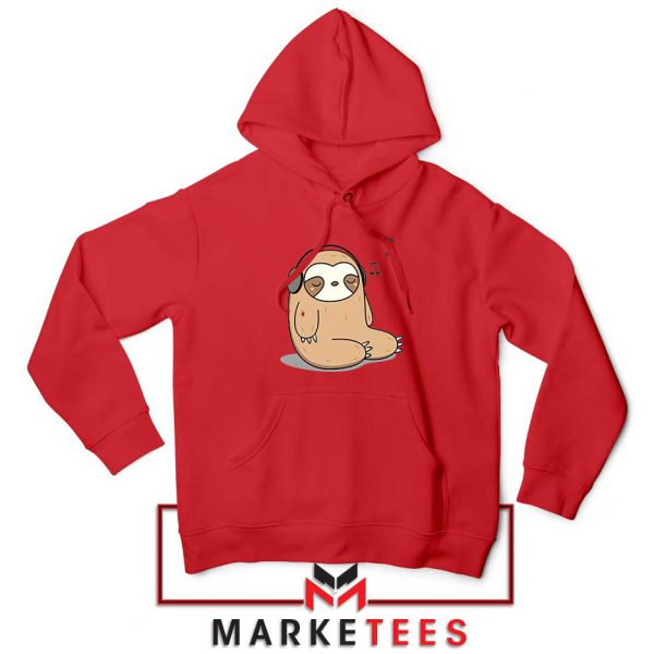 Sloth Listening Music Red Hoodie