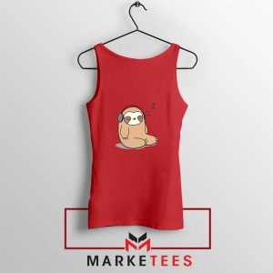 Sloth Listening Music Red Tank Top