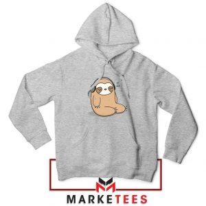 Sloth Listening Music Sport Grey Hoodie