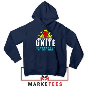 Introverts Unite Separately Navy Blue Hoodie