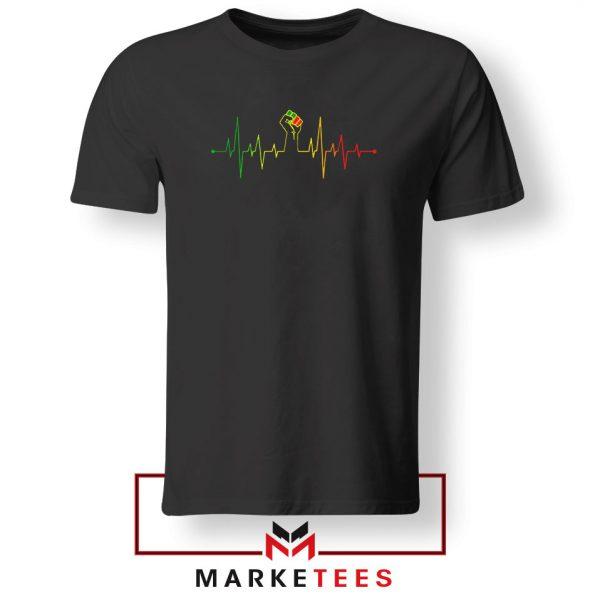 Black Power Heartbeat Black Tshirt