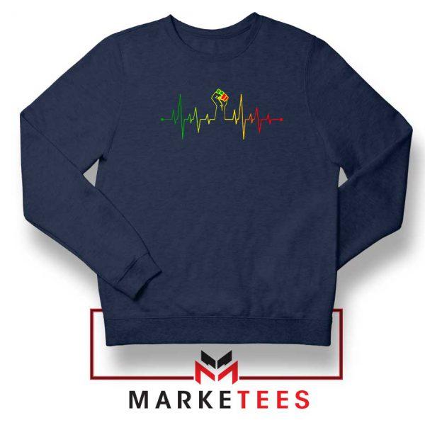 Black Power Heartbeat Navy Blue Sweatshirt