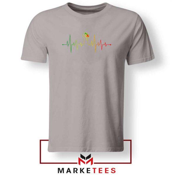 Black Power Heartbeat Sport Grey Tshirt