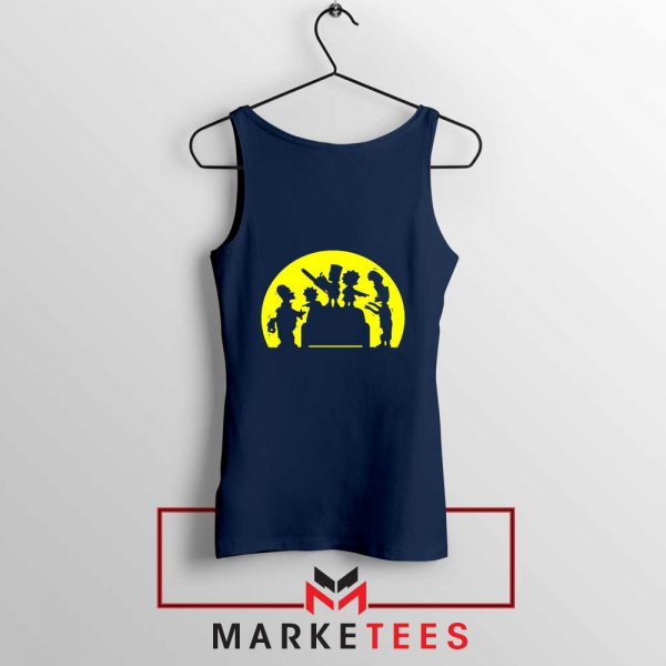 Doh Zombies Simpsons Navy Blue Tank Top