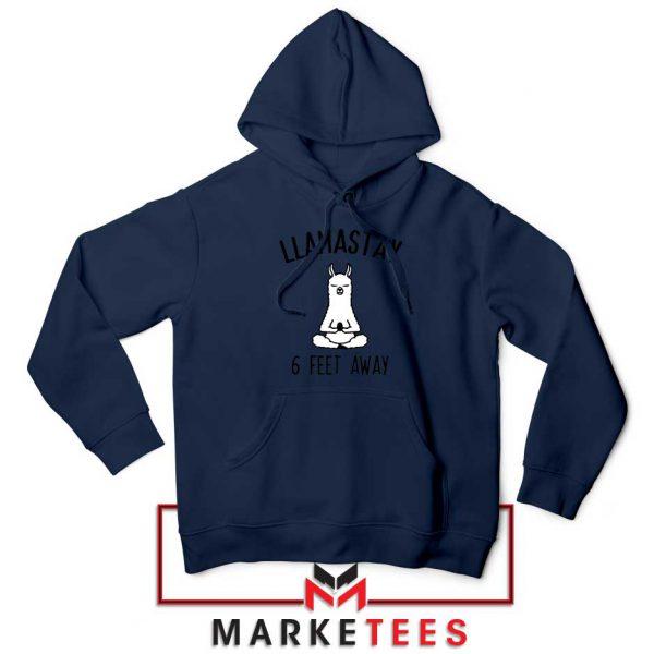 Llama Stay 6 Feet Away Navy Blue Hoodie