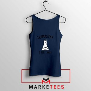 Llama Stay 6 Feet Away Navy Blue Tank Top