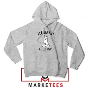 Llama Stay 6 Feet Away Sport Grey Hoodie