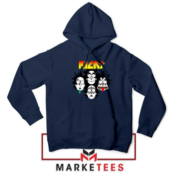 Rick And Morty Parody Of Kiss Navy Blue Hoodie