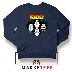 Rick And Morty Parody Of Kiss Navy Blue Sweatshirt