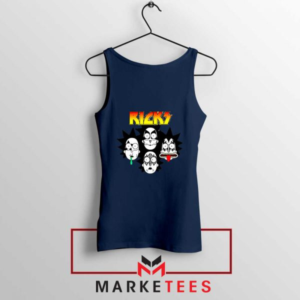 Rick And Morty Parody Of Kiss Navy Blue Tank Top