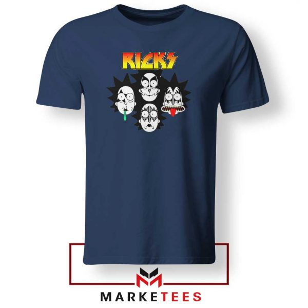 Rick And Morty Parody Of Kiss Navy Blue Tshirt