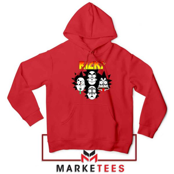 Rick And Morty Parody Of Kiss Red Hoodie