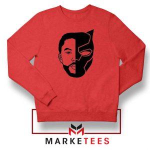TChalla Face Silhouette Red Sweatshirt