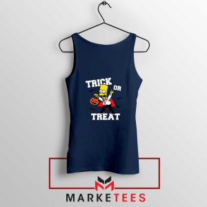 Trick Or Treat Bart Navy Blue Tank Top
