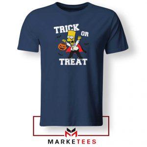 Trick Or Treat Bart Navy Blue Tshirt