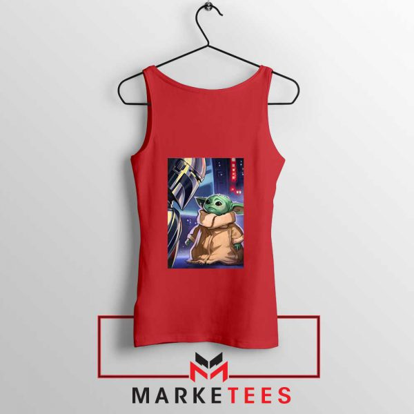 Baby Yoda The Mandalorian Red Tank Top