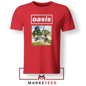 British Rock Band Oasis Red Tshirt