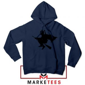 Darth Vader Riding Broomstick Navy Blue Hoodies