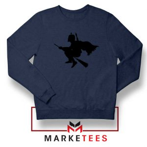 Darth Vader Riding Broomstick Navy Blue Sweatshirt