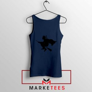 Darth Vader Riding Broomstick Navy Blue Tank Top