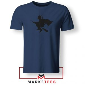 Darth Vader Riding Broomstick Navy Blue Tshirt
