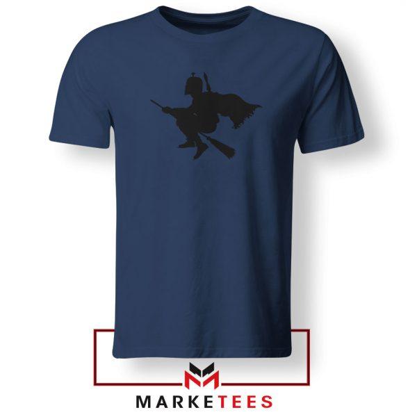 Darth Vader Riding Broomstick Navy Blue Tshirt