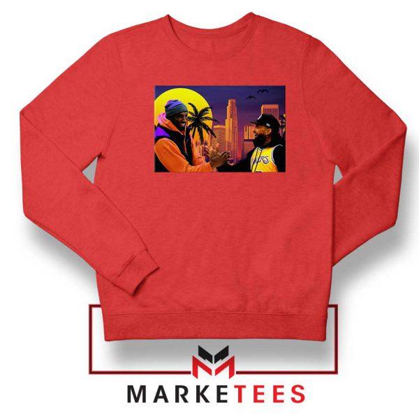 Kobe Bryant and Nipsey Hussle Red Sweatshirts