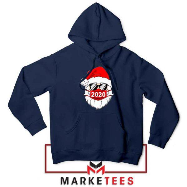 Santa Face Mask Navy Blue Hoodie