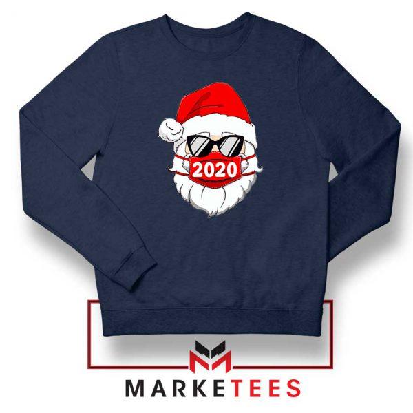 Santa Face Mask Navy Blue Sweatshirt