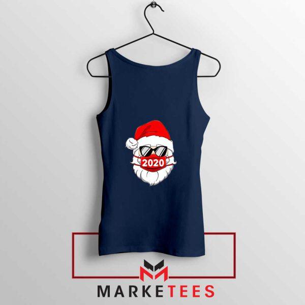 Santa Face Mask Navy Blue Tank Top