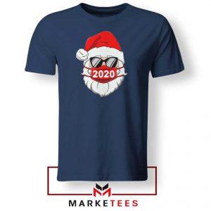 Santa Face Mask Navy Blue Tshirt